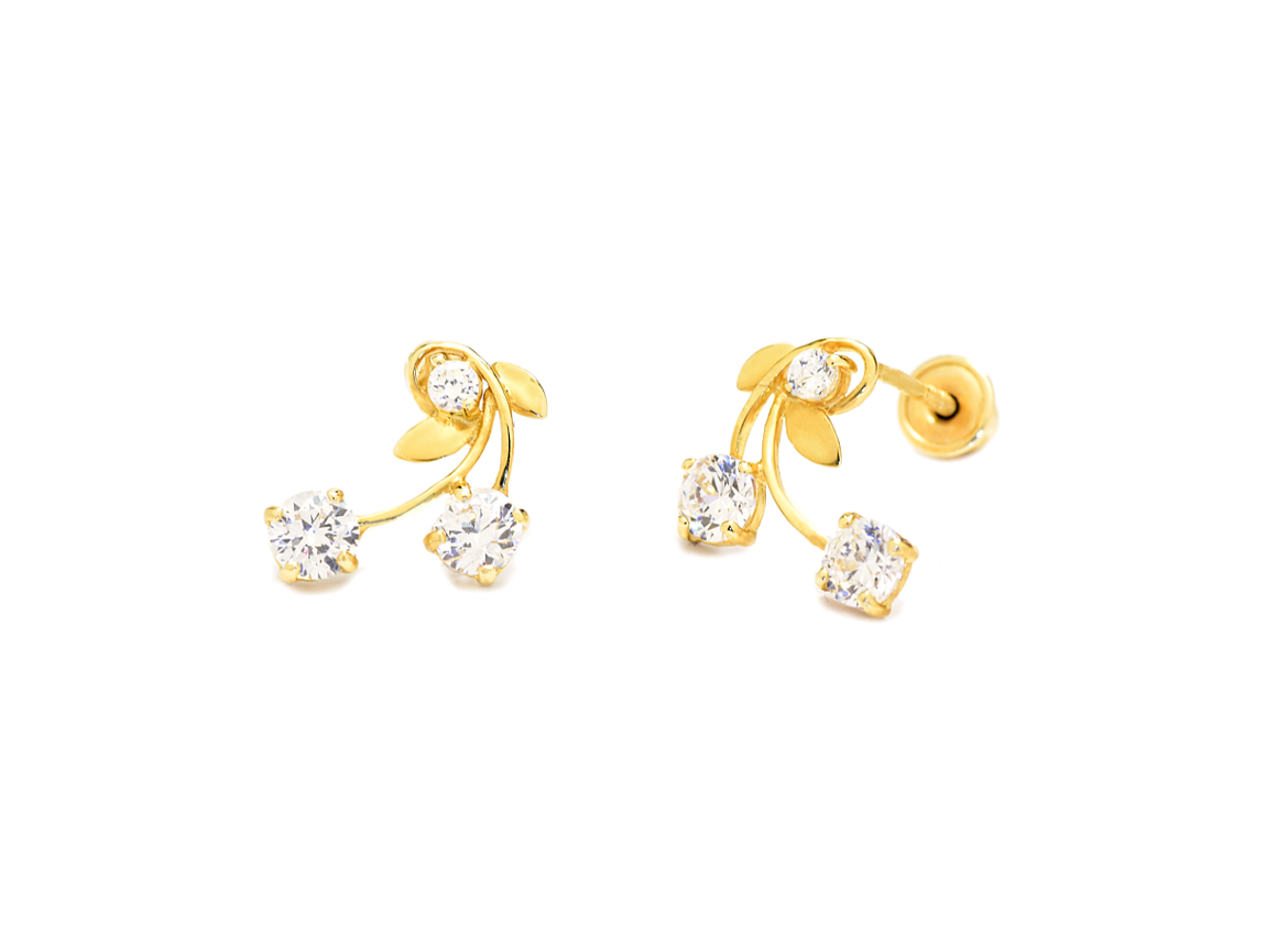 14K Yellow Gold Flower Vine Earrings with CZ Stones - Anny Gabriella NY
