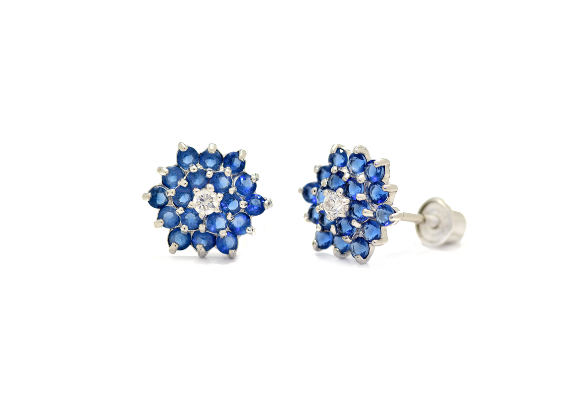 Flower Earrings with Blue Synthetic Sapphire & CZ Stone in 14K White Gold - Anny Gabriella NY
