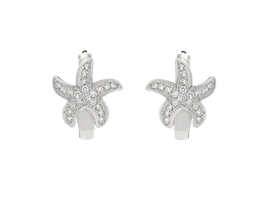 14K White Gold Starfish Hoop Earrings with Cubic Zirconia Stones - Anny Gabriella NY