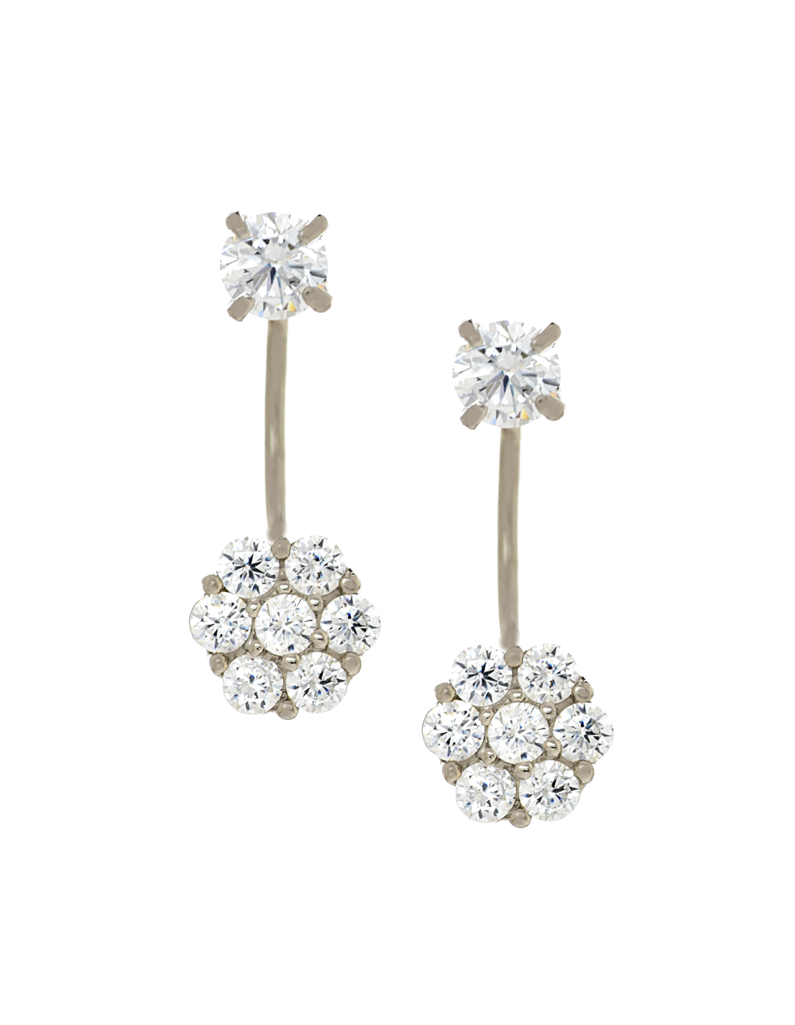 14K White Gold Flower Cluster CZ Telephone Earrings - Anny Gabriella NY