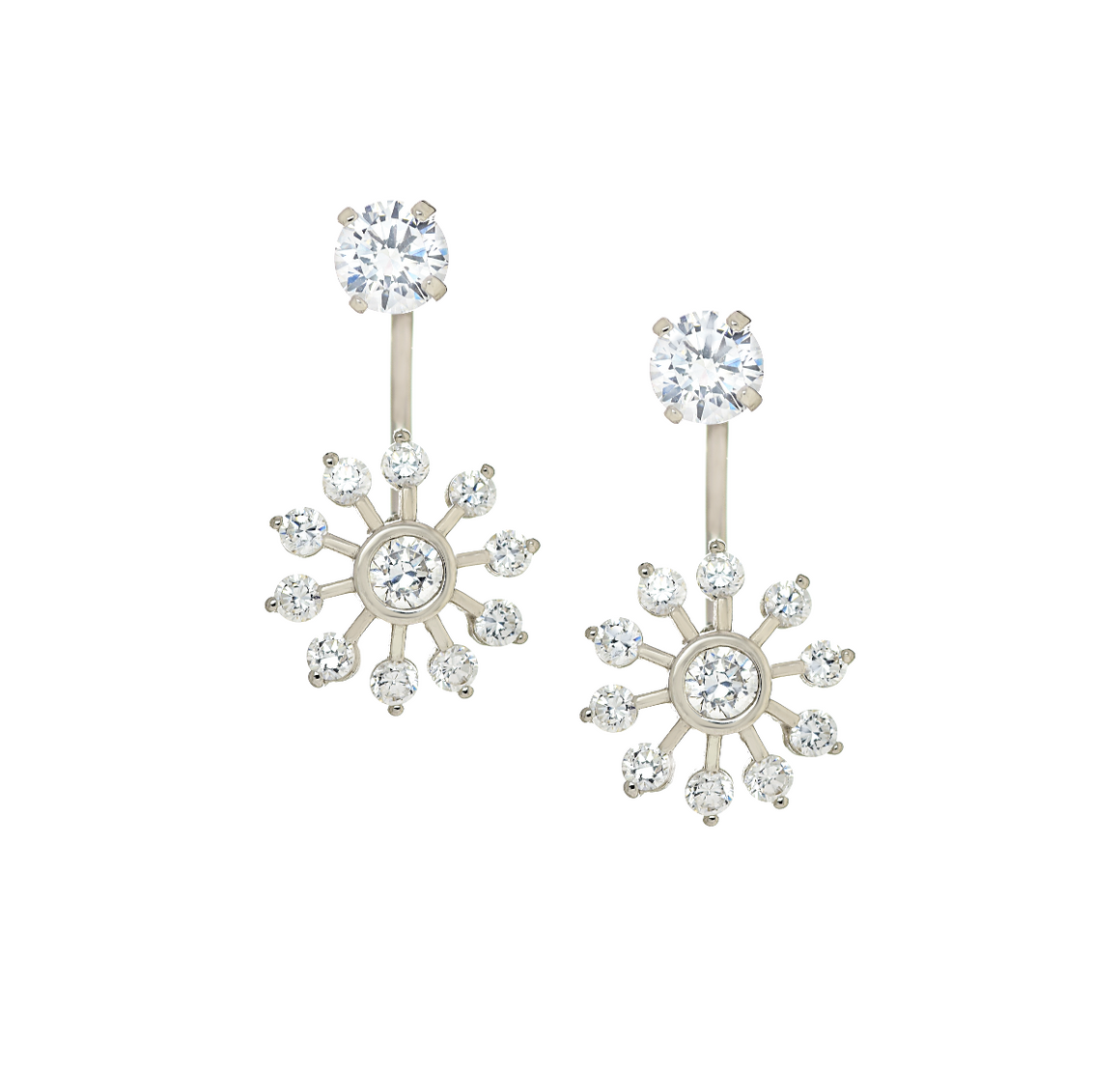14K White Gold CZ Sun Telephone Earrings - Anny Gabriella NY