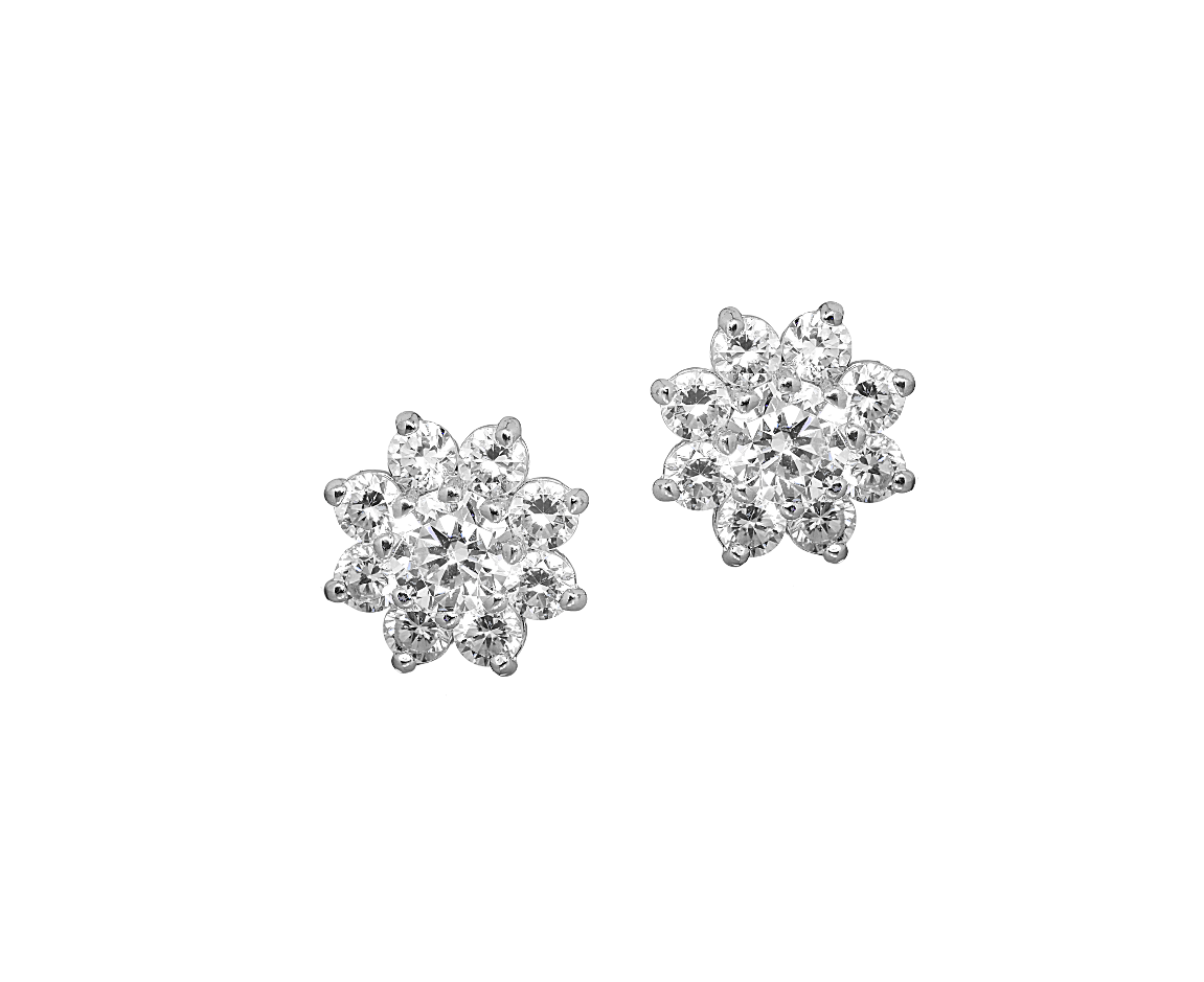 Flower Stud Earrings with CZ Stones in 14K White Gold 8mm - Anny Gabriella NY