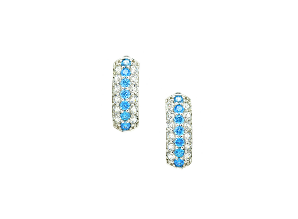 Triple Row Cut Hoop Earrings with Aquamarine CZ Stones in 14K White Gold - Anny Gabriella NY