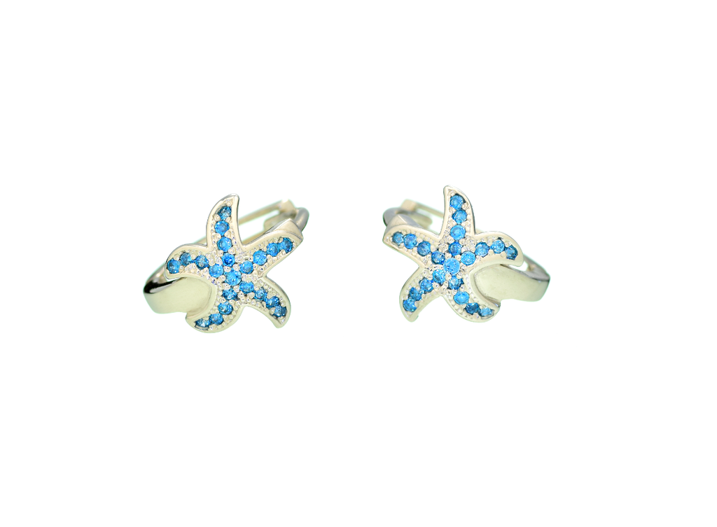 Starfish Hoop Earrings with Blue Cubic Zirconia Stones in 14K White Gold - Anny Gabriella NY