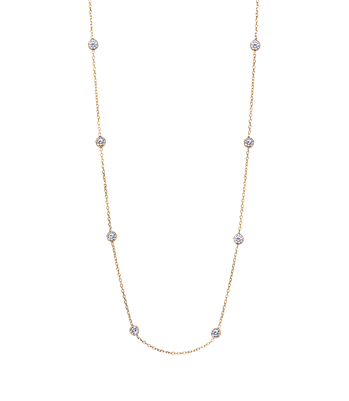 14K Yellow Gold CZ By The Yard Necklace