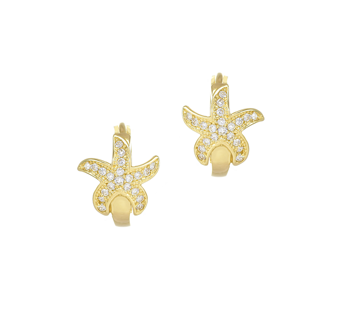 Starfish Hoop Earrings with Cubic Zirconia Stones in 14K Yellow Gold - Anny Gabriella NY