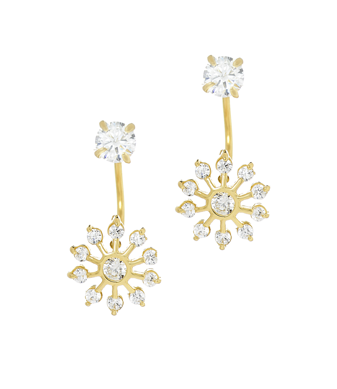 14K Yellow Gold CZ Sun Telephone Earrings - Anny Gabriella NY