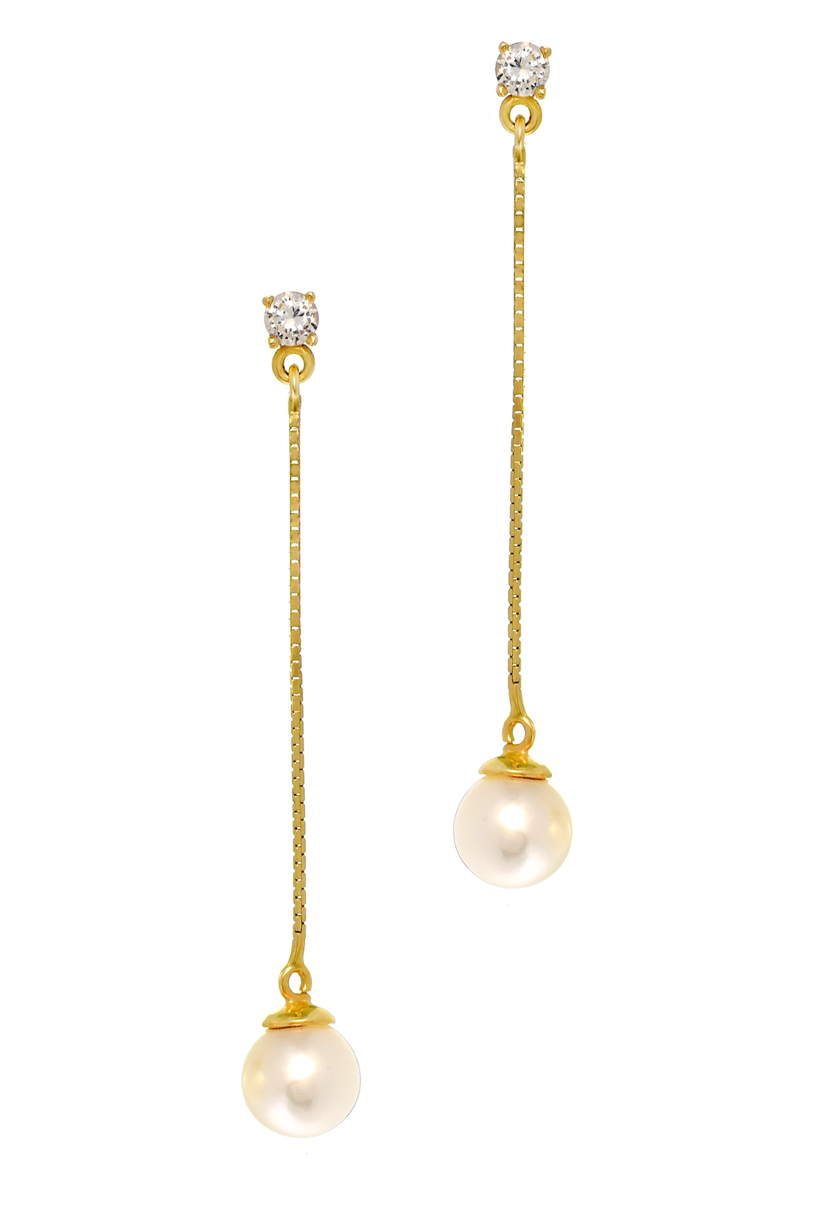 14K Yellow Gold Pearl Drop Earrings with CZ Stone - Anny Gabriella NY