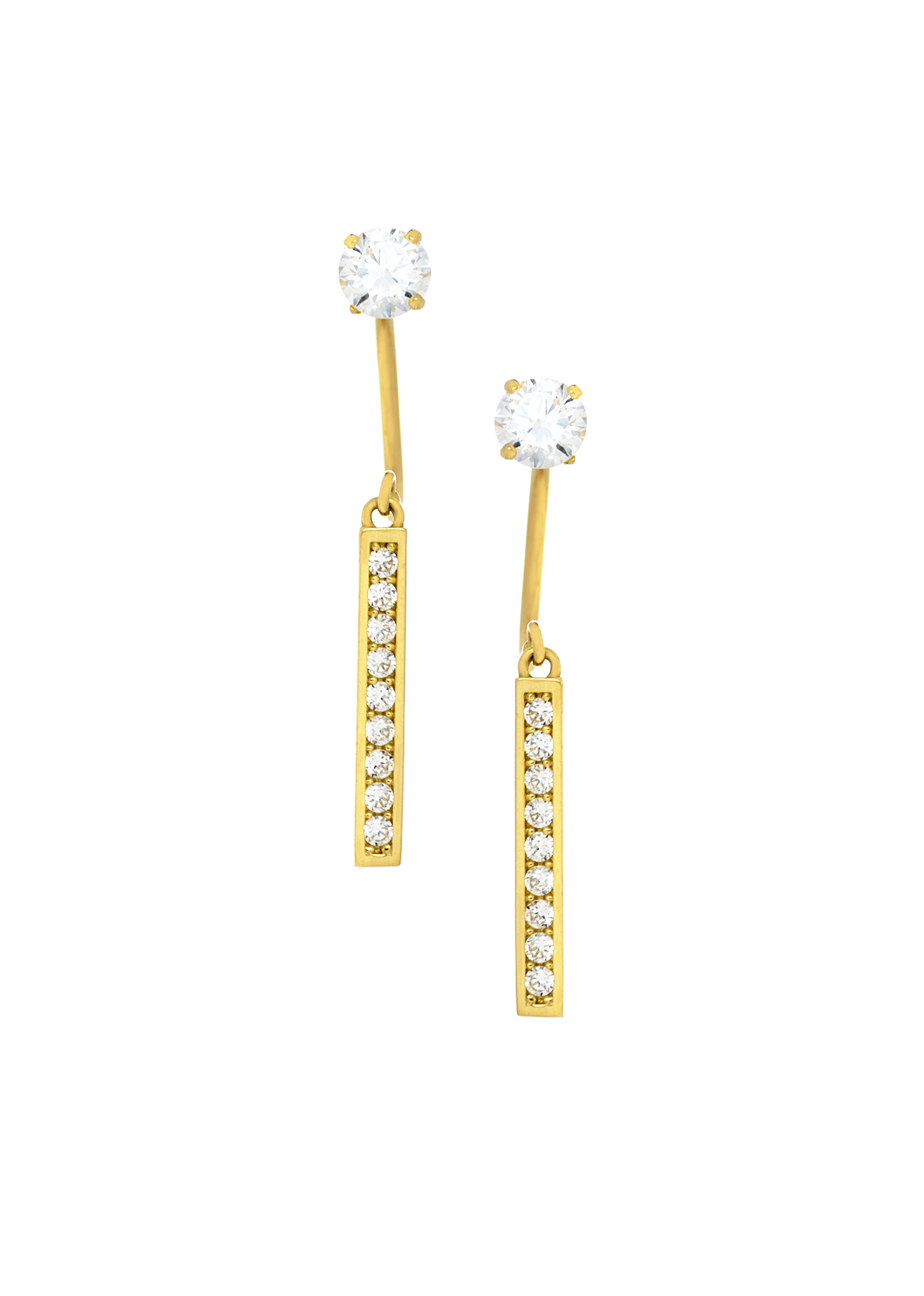 14K Yellow Gold Cubic Zirconia Drop Bar Telephone Earrings - Anny Gabriella NY