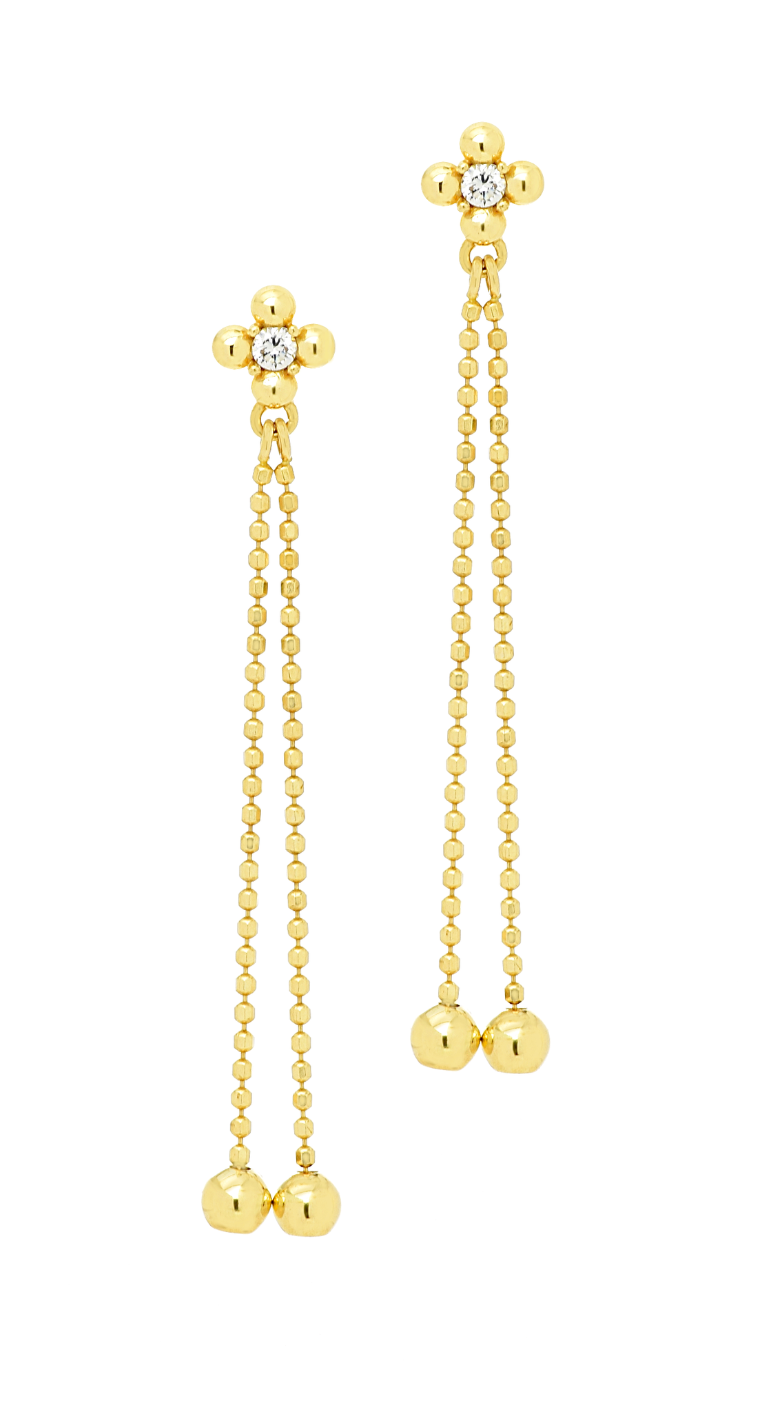 14k Yellow Gold Dangling Earrings with CZ Stones - Anny Gabriella NY