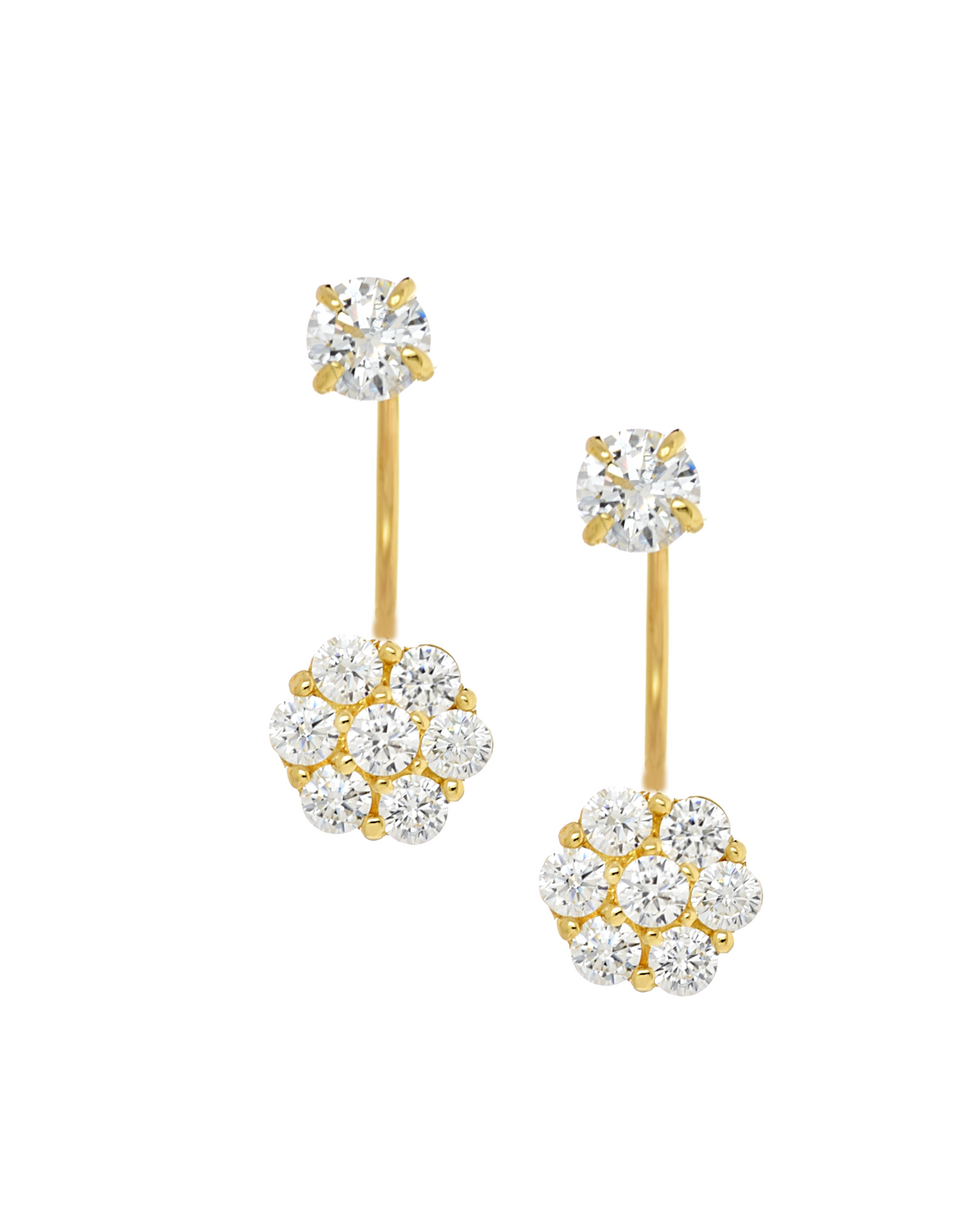 14K Yellow Gold Flower Cluster CZ Telephone Earrings - Anny Gabriella NY
