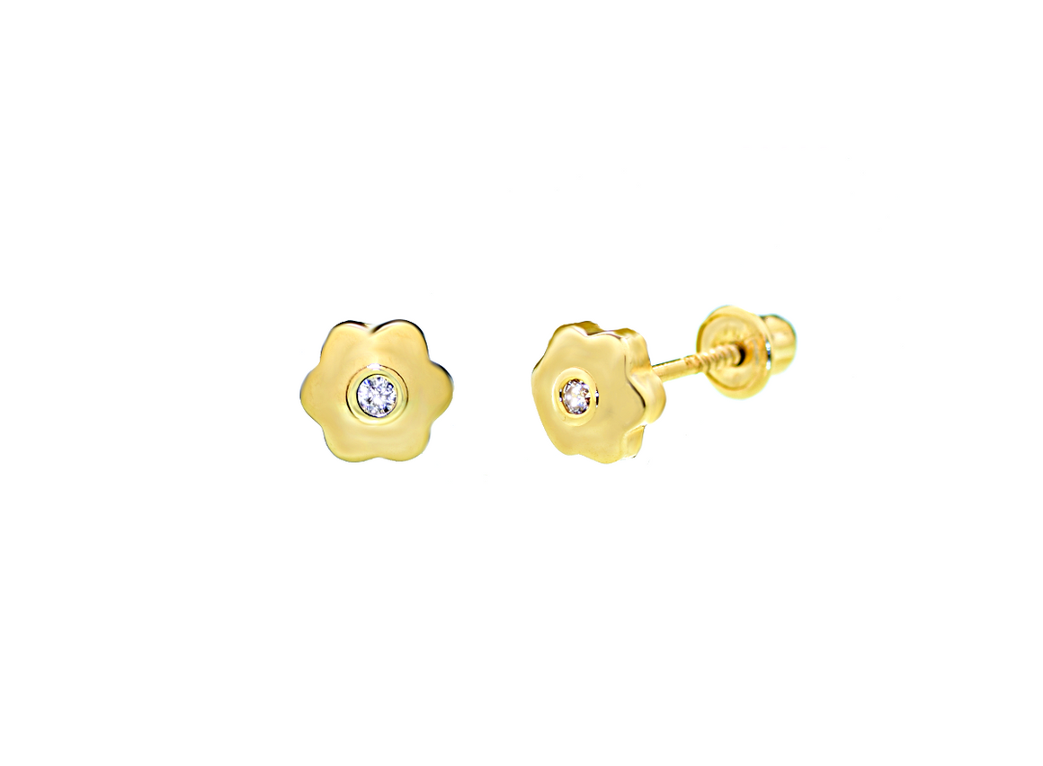 14K Yellow Gold Flower Stud Earrings with CZ Stone - Anny Gabriella NY