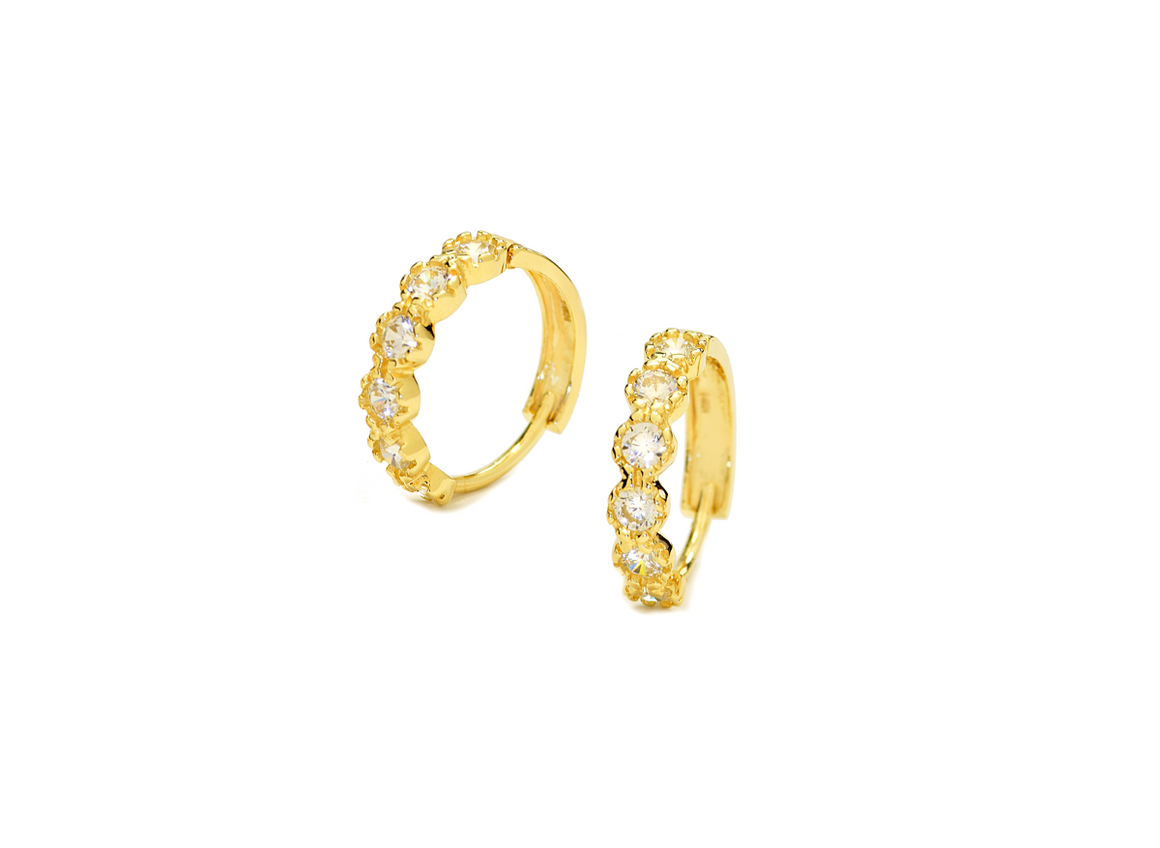 14K Yellow Gold Hoop Earrings with CZ Stones - Anny Gabriella NY