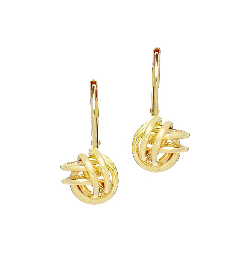 14K Yellow Gold Loose Love Knot Earrings - Anny Gabriella NY