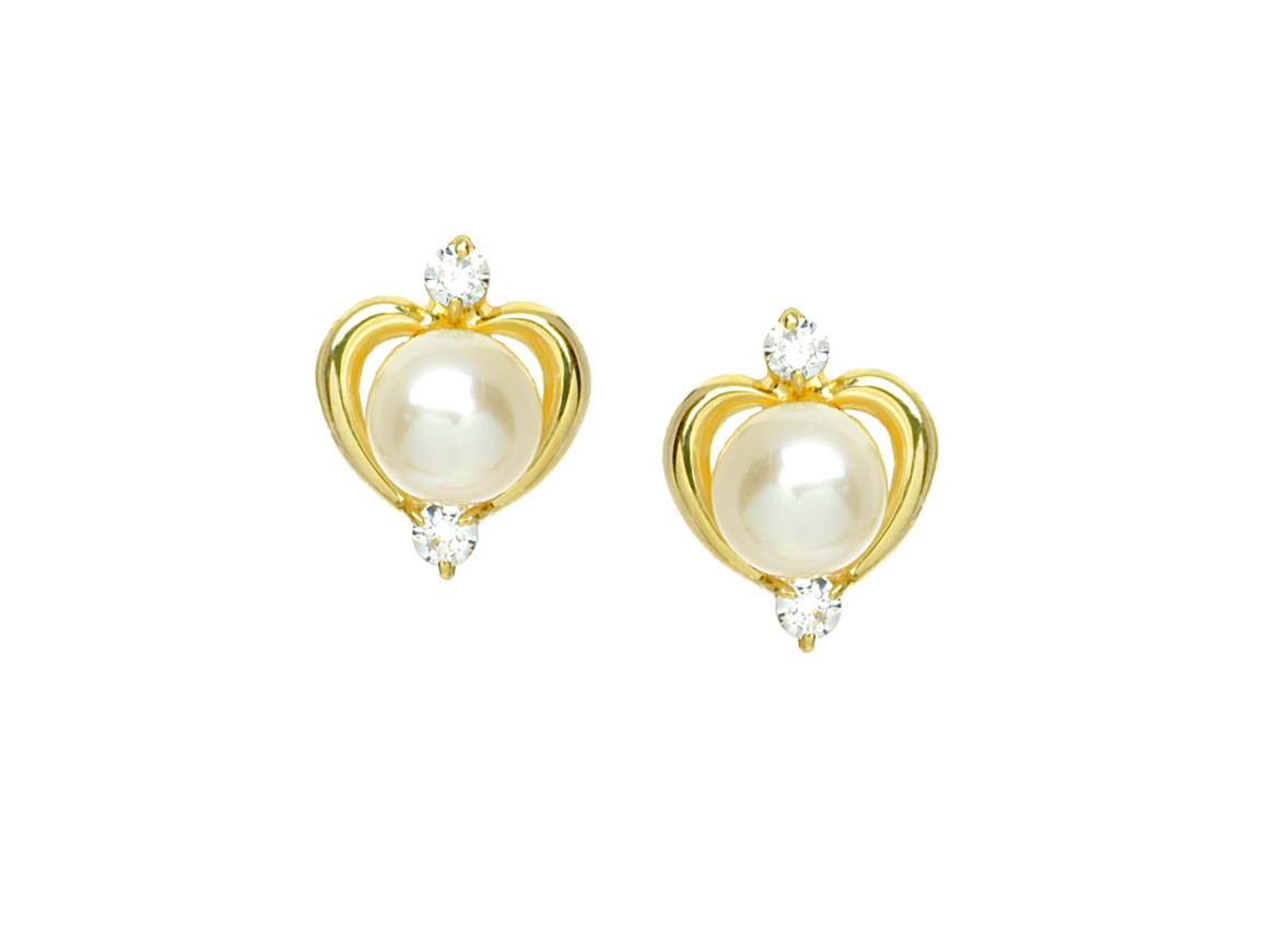 Pearl Earrings with CZ Stones in14K Yellow Gold - Anny Gabriella NY
