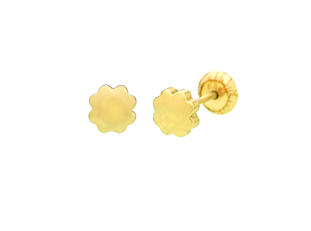 14K Yellow Gold Flower Stud Earrings - Anny Gabriella NY