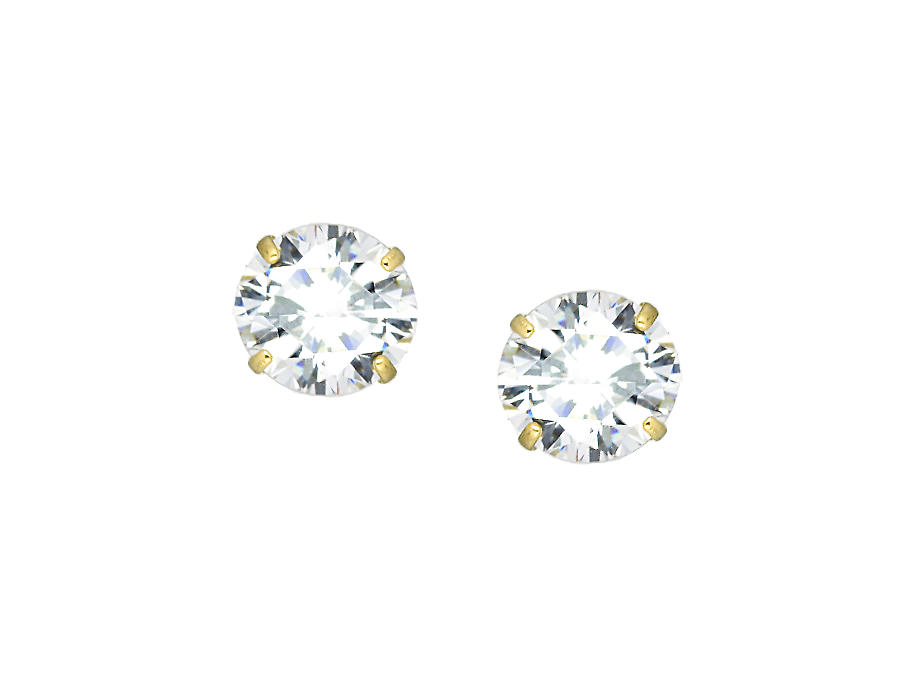 14K Yellow Gold CZ Stone Stud Earrings - Anny Gabriella NY