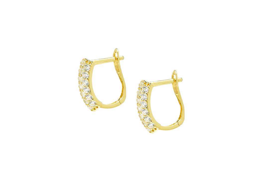 Triple Row Cut Hoop Earrings with CZ Stones in 14K Yellow Gold - Anny Gabriella NY