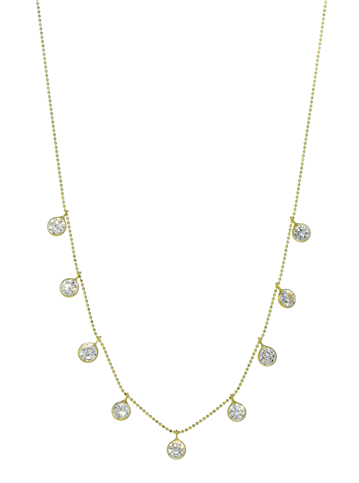 14K Yellow Gold with 9 Dangling CZ Stones Necklace - Anny Gabriella NY