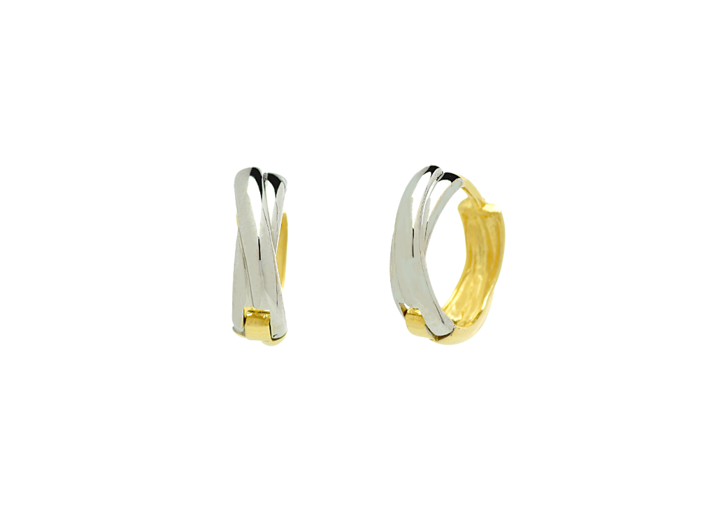 Small Twisted Hoop Earrings in 2 Tone 14K Gold - Anny Gabriella NY