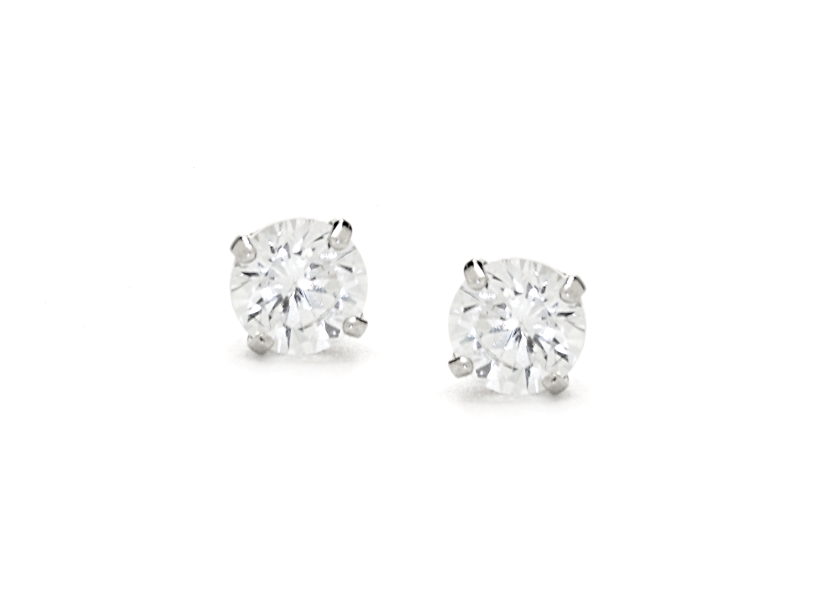 14K White Gold CZ Stone Stud Earrings - Anny Gabriella NY