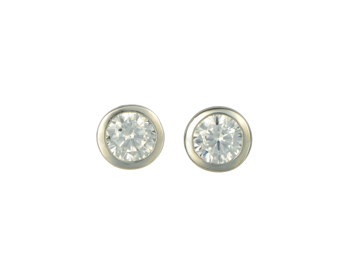 4 mm Bezel Set Martini Style CZ Earrings Sterling Silver - Anny Gabriella NY