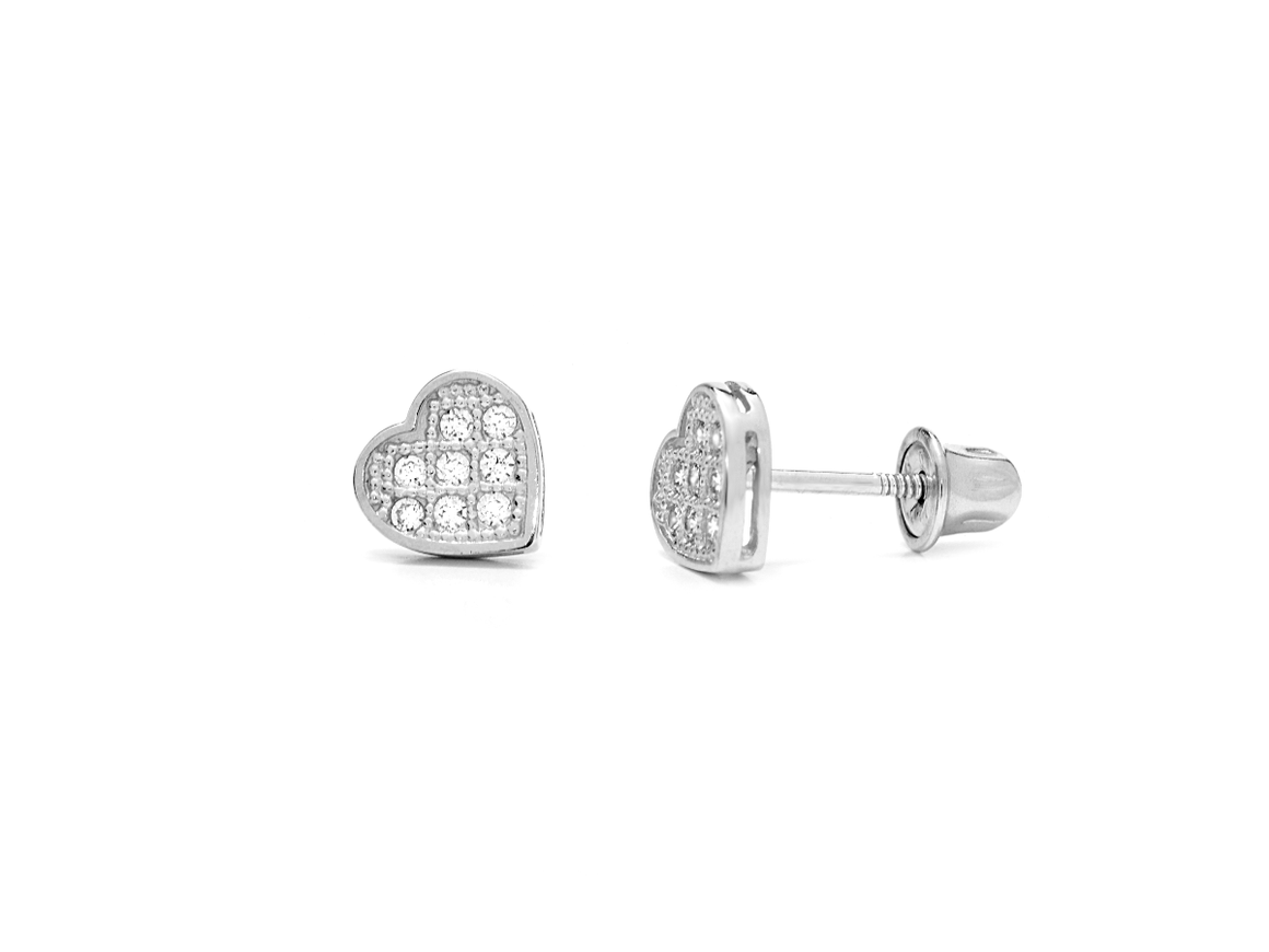 14K White Gold Heart Earrings with CZ Stones - Anny Gabriella NY