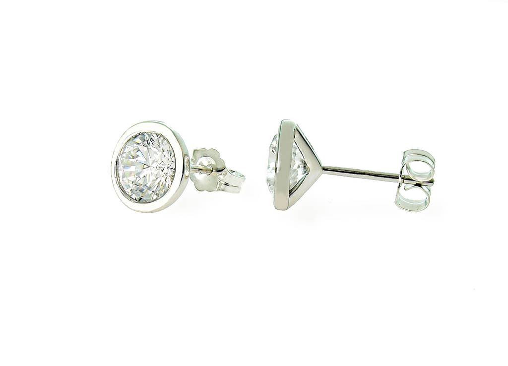 7 MM Bezel Set Martini Style CS Earrings Sterling Silver - Anny Gabriella NY