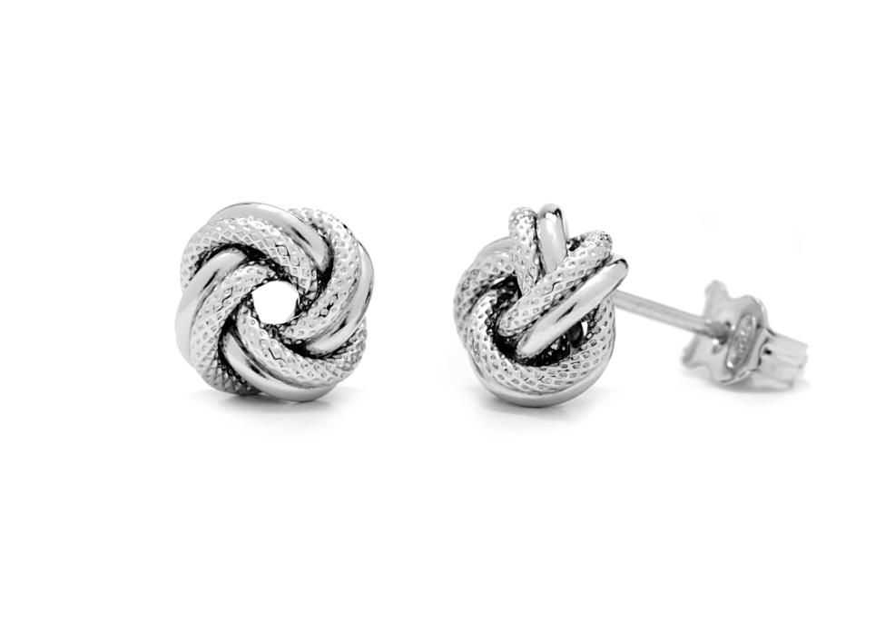 Medium Italian Sterling Silver Love Knot Earrings - Anny Gabriella NY