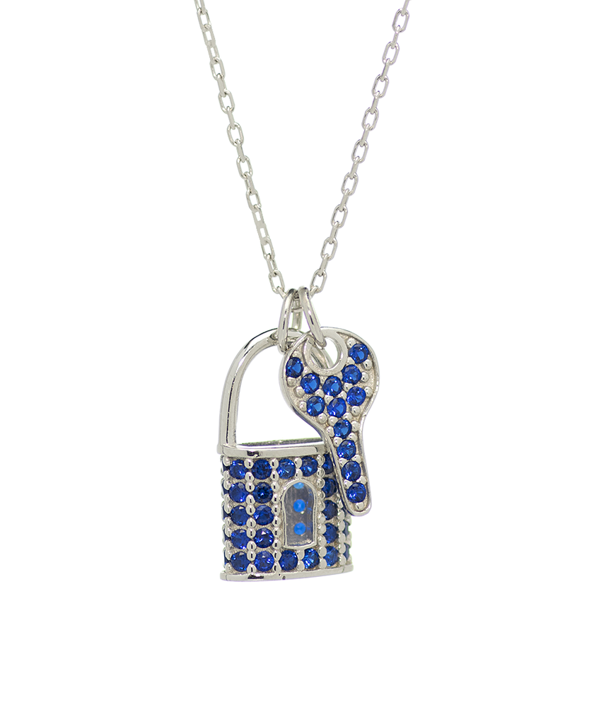 Lock and Key Pendant Necklace with CZ Stones in Sterling Silver