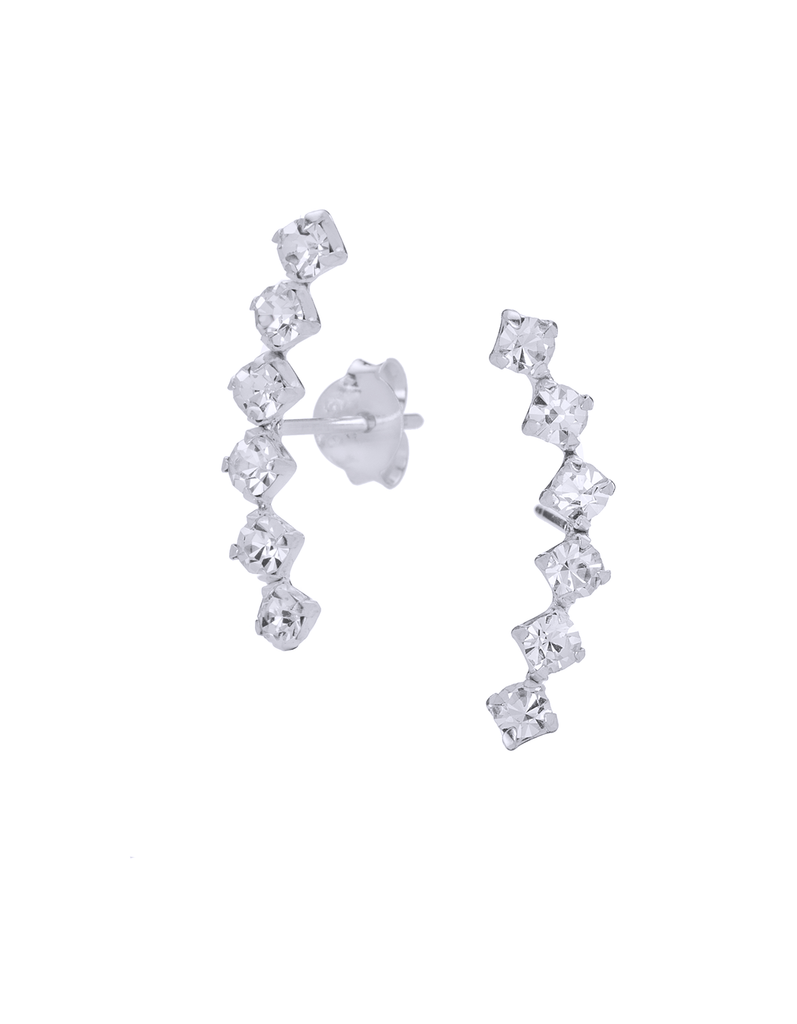 CZ Stones Ear Climber Earrings in Sterling Silver