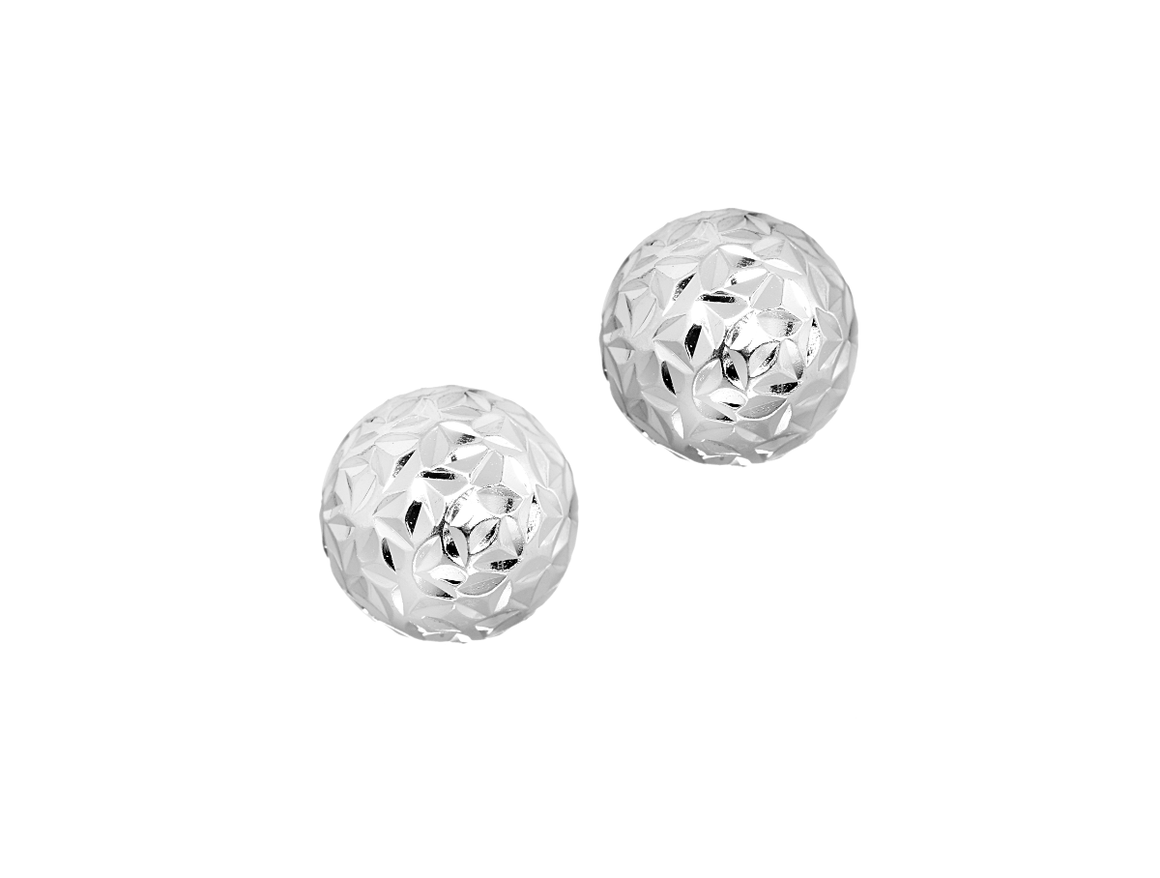 Ball Stud Earrings Crystal Cut in Sterling Silver 8mm - Anny Gabriella NY
