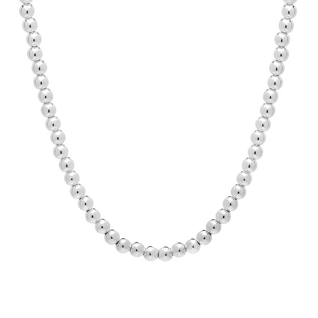 Bead Necklace in Italian Sterling Silver - Anny Gabriella NY