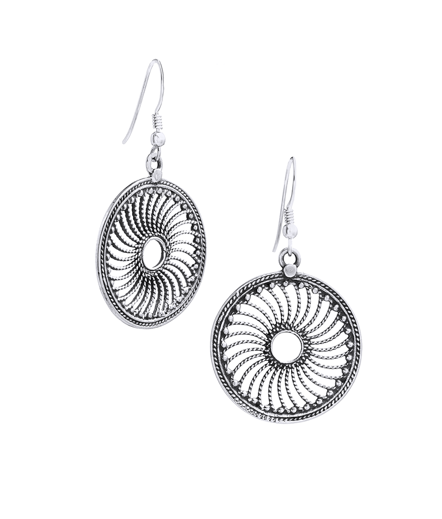 Tibetan Disc Drop Earrings in Sterling Silver