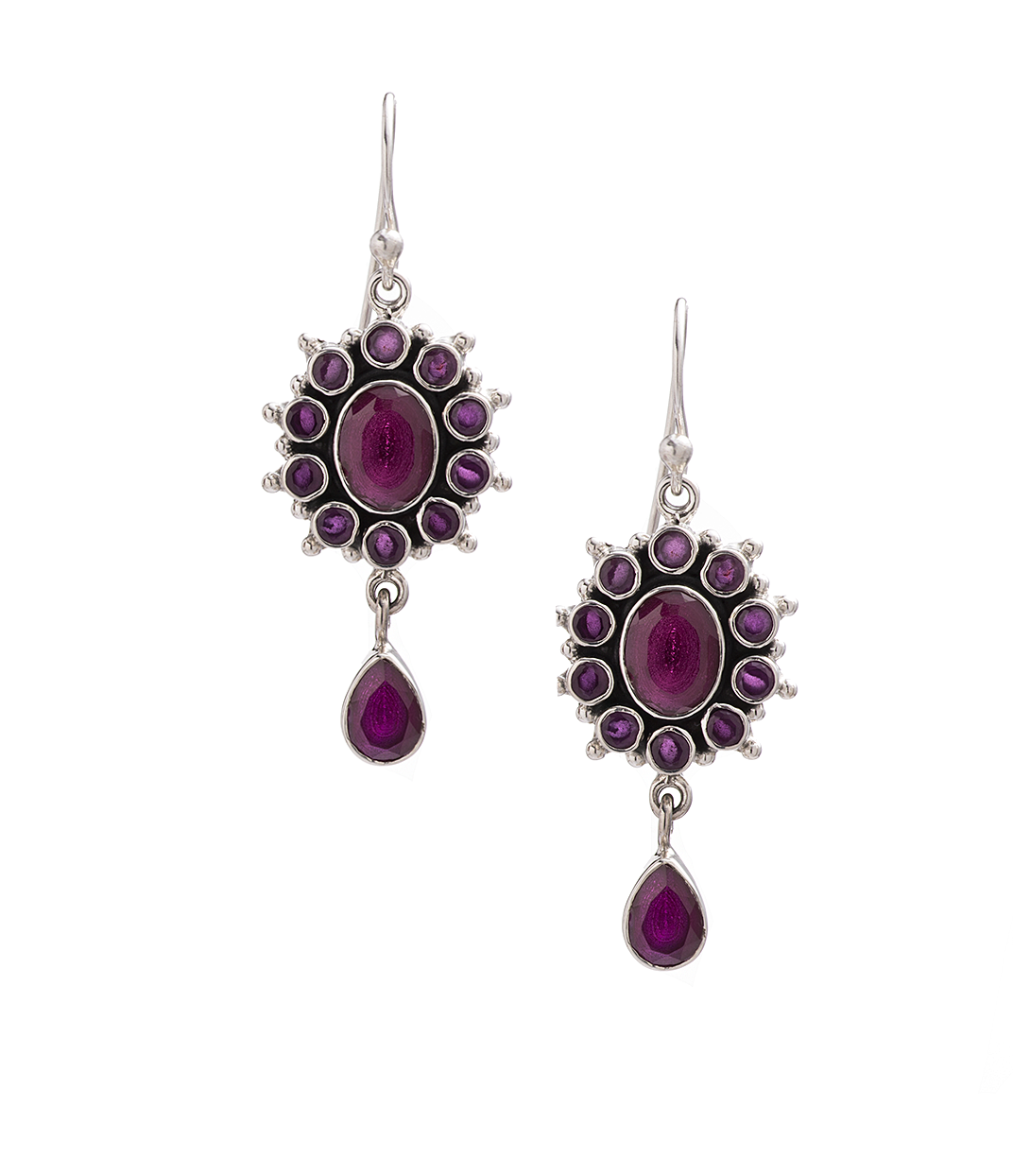 Amethyst Flower Drop Earrings in Sterling Silver