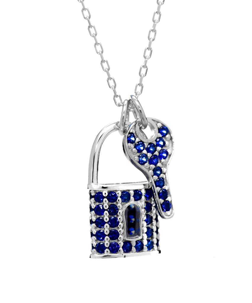 Lock and Key Pendant Necklace with CZ Stones in Sterling Silver - Anny Gabriella NY