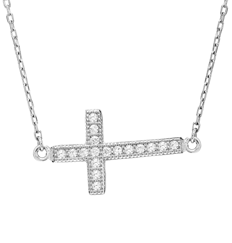 Sideways Cross Pendant Necklace with CZ Stones in Sterling Silver - Anny Gabriella NY