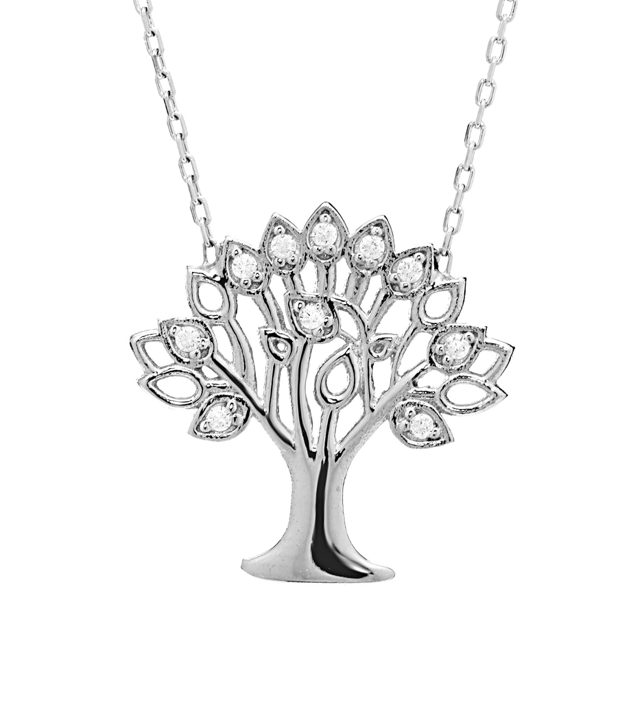 Tree of Life Pendant Necklace with CZ Stones in Sterling Silver - Anny Gabriella NY