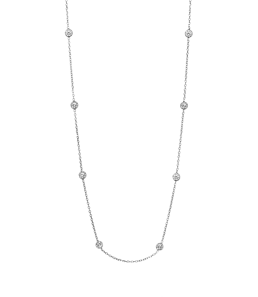 14K White Gold CZ By The Yard Necklace