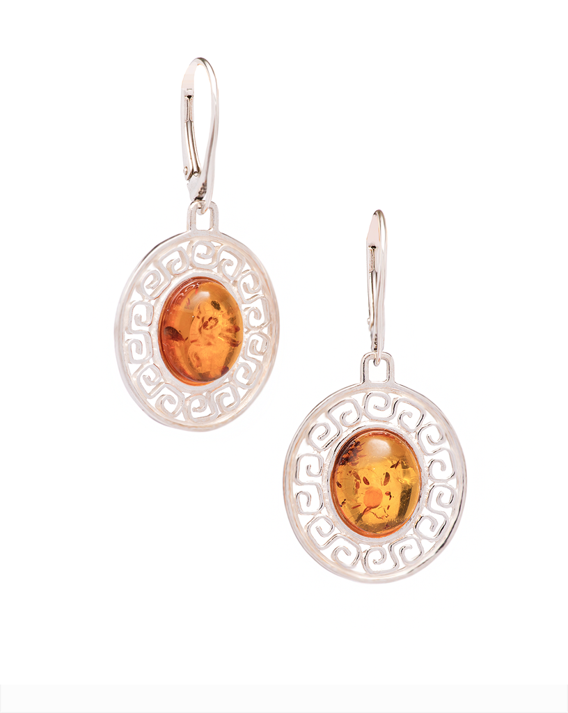 Oval Shape Amber Earrings in Sterling Silver