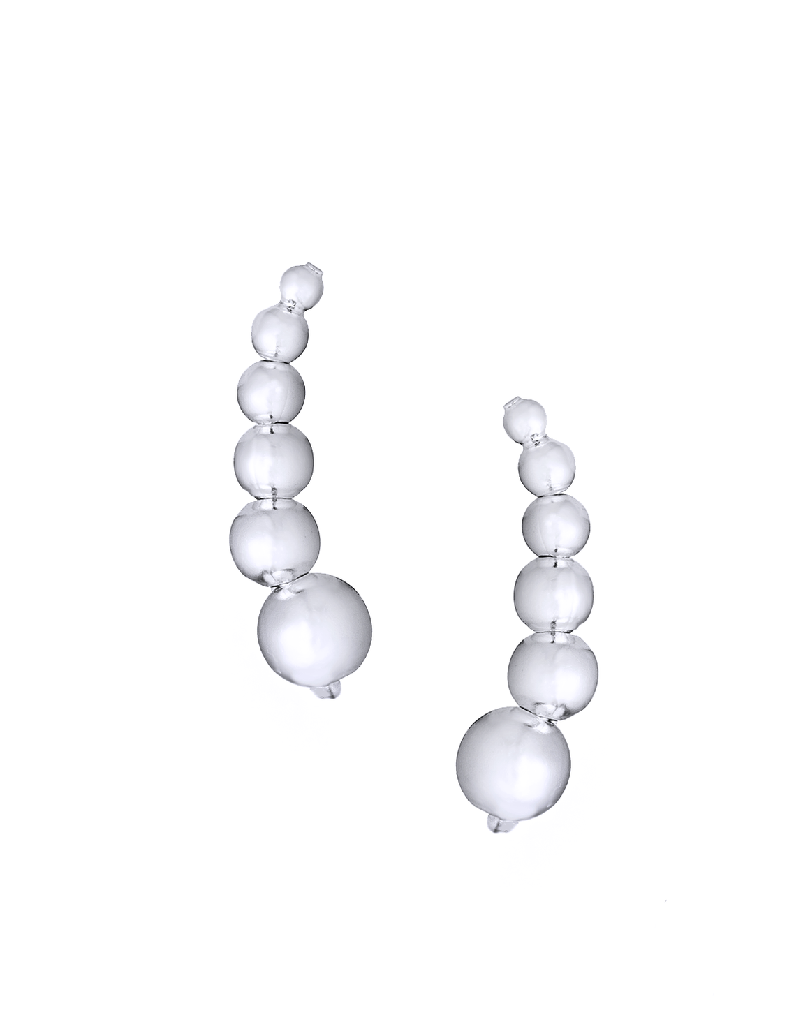 Stacked Balls Ear Climbers in Sterling Silver