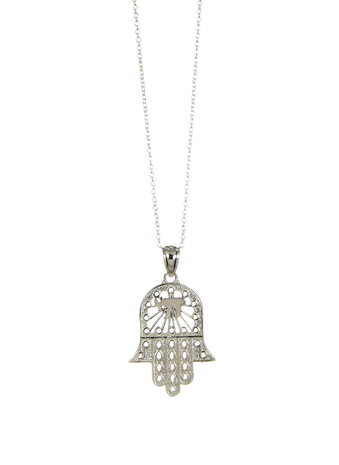 Filligree Hamsa Hand with Chai Pendant Necklace 925 Sterling Silver - Anny Gabriella NY