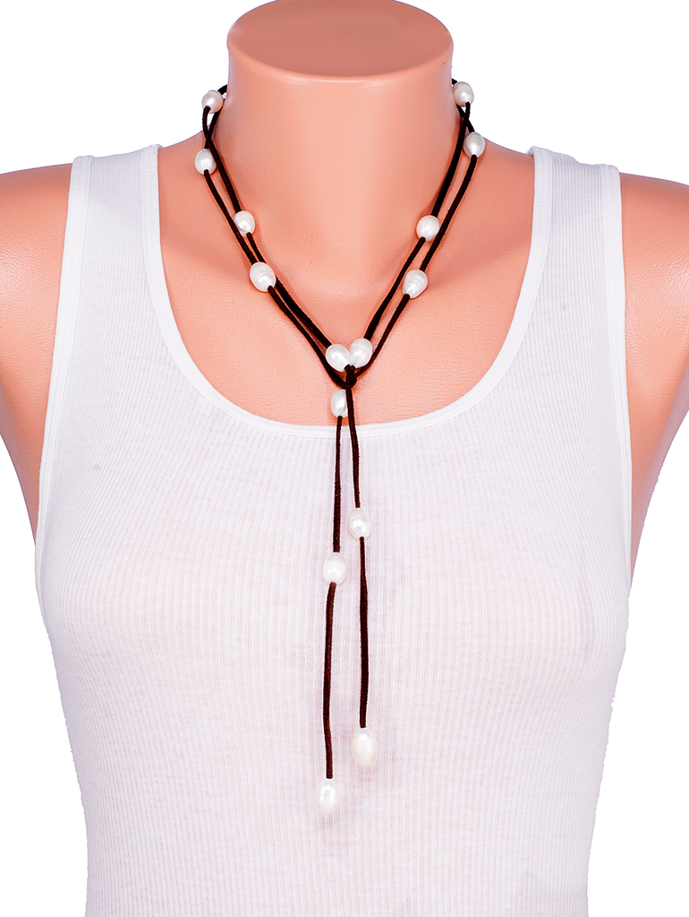 Long Pearl Leather Wrap Necklace Black