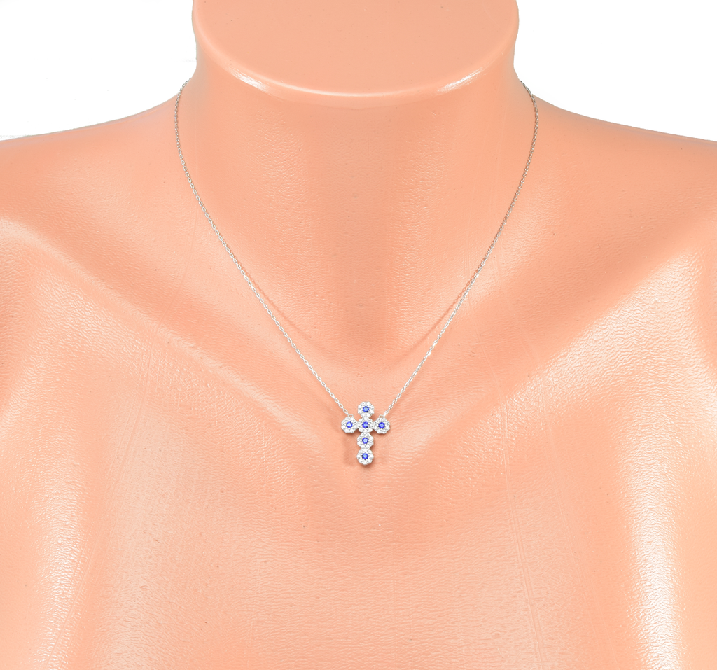 Cross Pendant Necklace with CZ Stones in Sterling Silver - Anny Gabriella NY