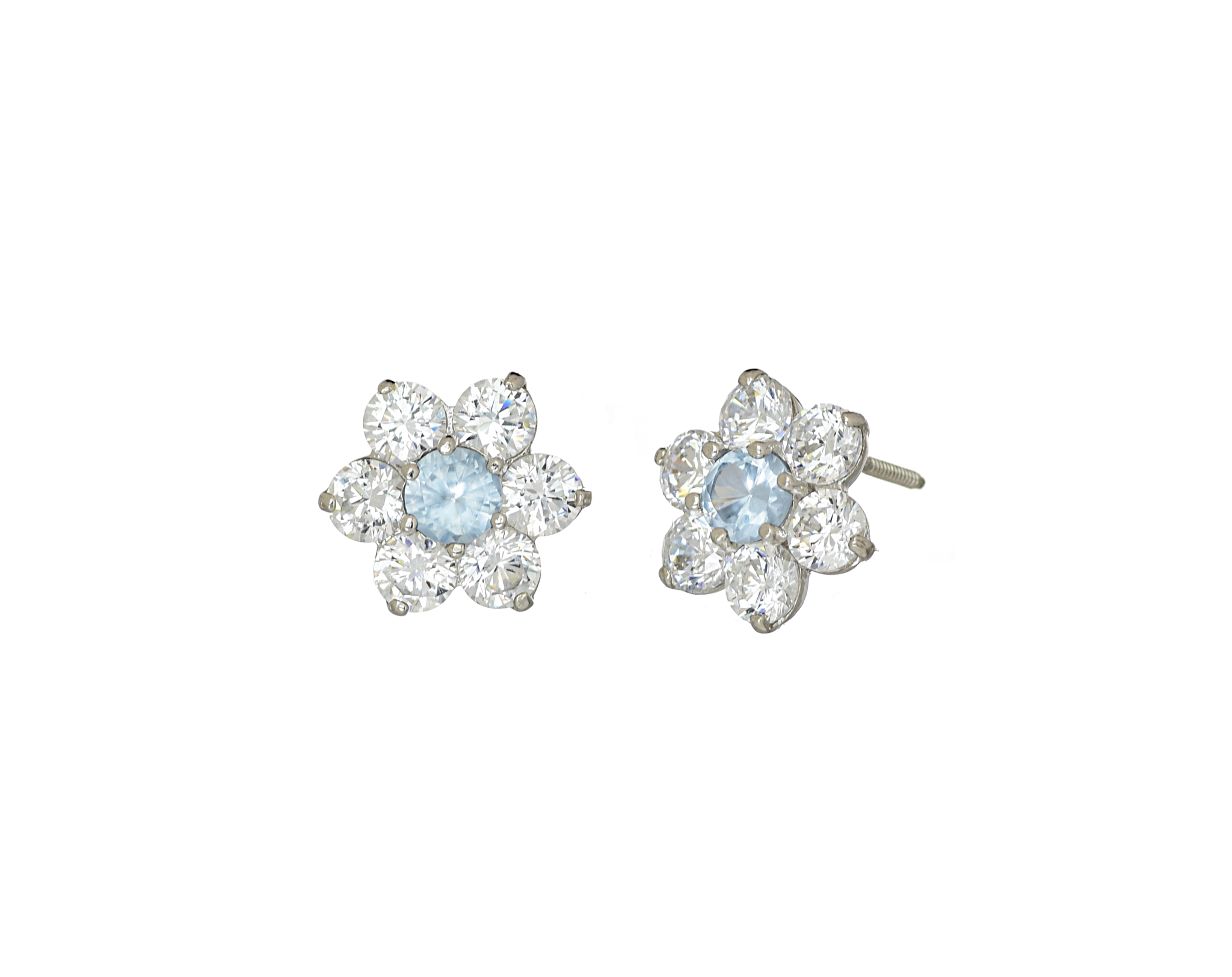 Buy 14k White Gold Flower Cz Stone March Birthstone Cluster Earrings