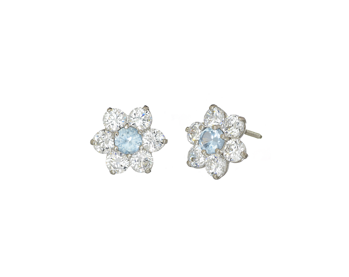 14K White Gold Flower CZ Stone March Birthstone Cluster Earrings - Anny Gabriella NY