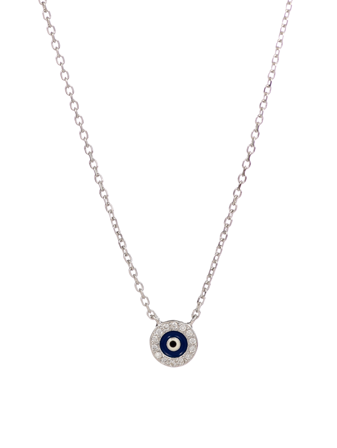 Sterling Silver with CZ Stones Evil Eye Protection Necklace - Anny Gabriella NY