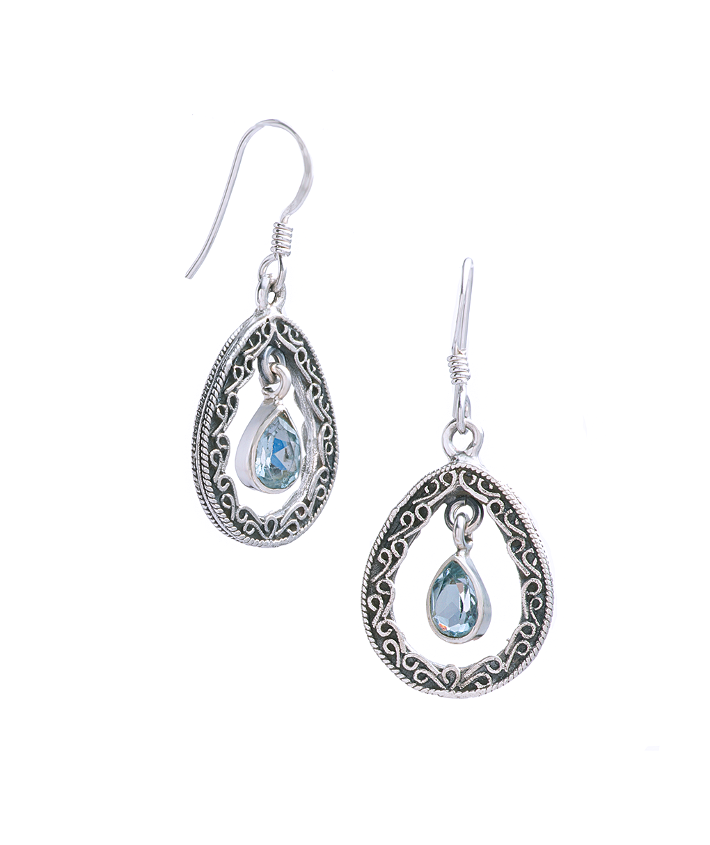 Aquamarine Drop Earrings in Sterling Silver