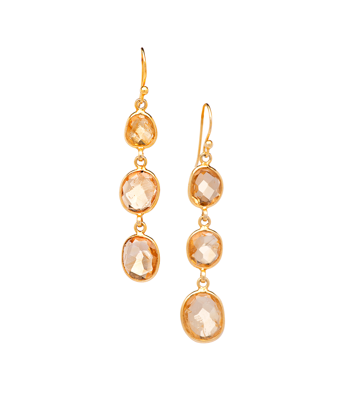 Citrine Drop Earrings in Sterling Silver 14K Yellow Gold Plated