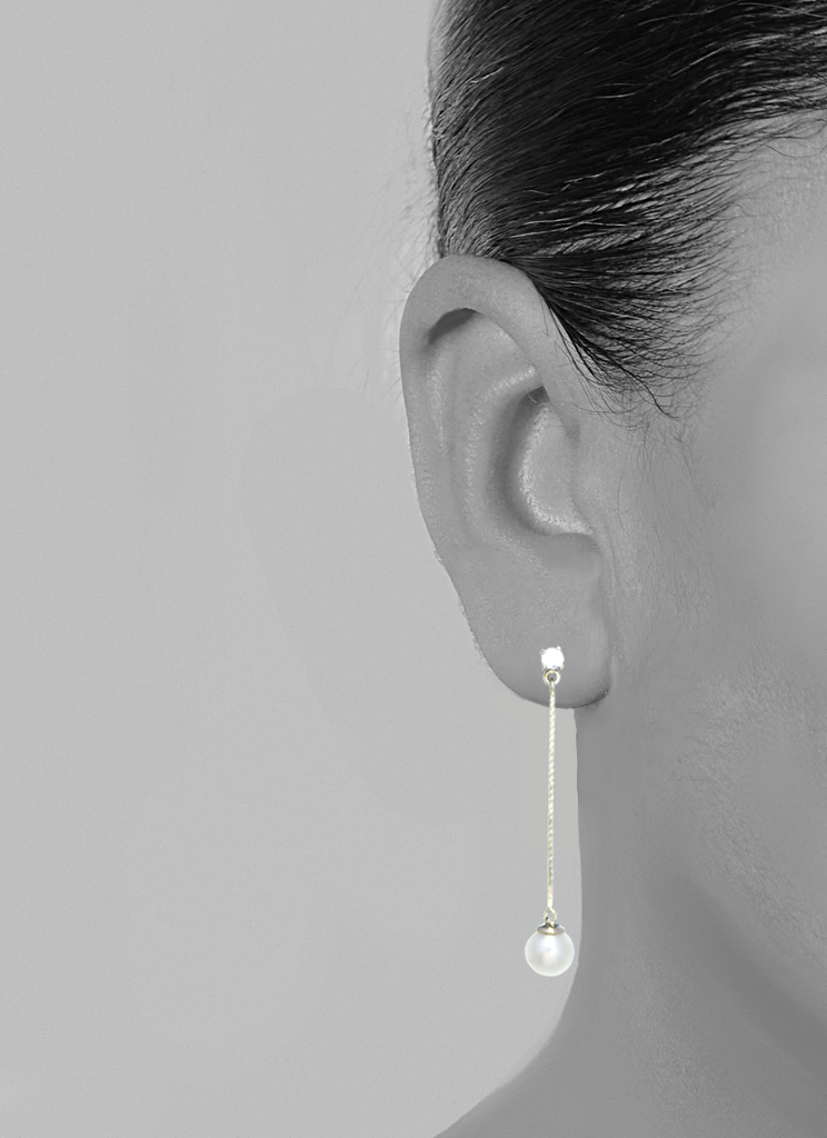 14K White Gold Pearl Drop Earrings with CZ Stone - Anny Gabriella NY